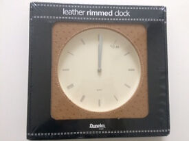 NEW Dunelm Mill Leather Rimmed Wall Clock.