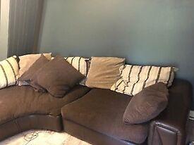 brown and cream corner sofa