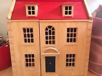 Wooden Dolls House c/w furniture