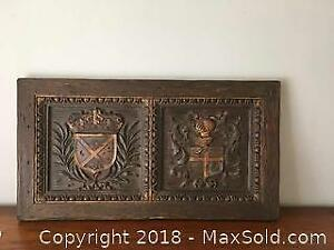 Antique Oak Carved Wall Panel Coats Of Arms