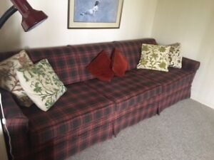Plaid couch and 2 armchairs