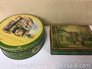 lot of 2 antique Biscuit tins