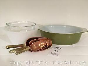 Vintage Pyrex and Brass-Copper Scoops - Pickup A