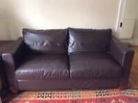 Dark Brown Leather Sofa, £80 ONO