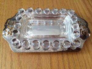 Viking Plate Silver and Glass Miniature Butter Dish