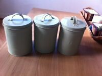 Lime green tea, sugar and coffee canisters