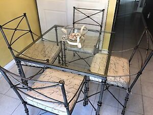 PEWTER WROUGHT IRON TABLE AND CHAIRS