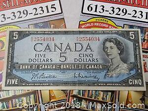 1954 Canada Five Dollar Note Bill Currency