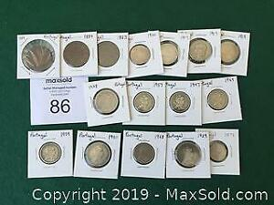16 Portuguese Coins 1883 to 1977 A