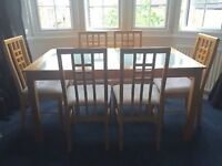 DINING SUITE - GLASS TOP WOODEN TABLE + 6 CHAIRS - £60