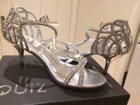 Quiz Sliver Diamante Heel Strap Sandals, worn once indoors, size 5