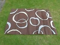 Large Contemporary Design Rectangular Rug Brown Beige & Eggshell Blue Hessian Back GC