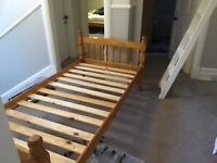 Pine single bed without mattress