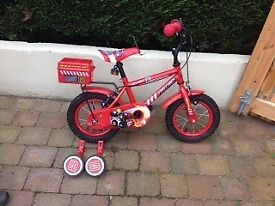 Boys 12 inch bike- fireman - from Halfords, excellent condition