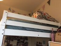 Loft style Double Bed Bunkbed 7ft white frame double bed with ladder - 3 months old.