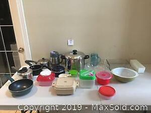 Pots & Pans, Vintage Pyrex and Containers Lot