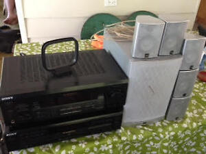 Sony FM Stereo with Compact Disk Player and Speakers