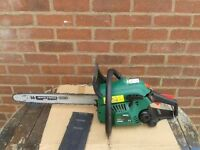 "Chainsaw, Qualcast, Model PCS46Z, 45cc, 45cm (18"") with chain guard/sleeve, like new."