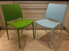 Contemporary restaurant quality chairs.Only £6 each. 1 Green and 1 Blue available- will split