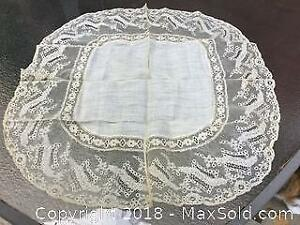 Antique Lace Wedding Handkerchief dated 1865