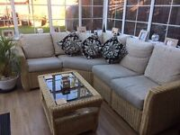Cream Wicker Corner Conservatory Sofa and coffee table