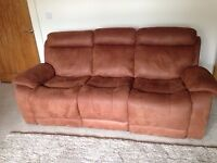 Faux suede -Two x Three seater manual recliner sofa for sale