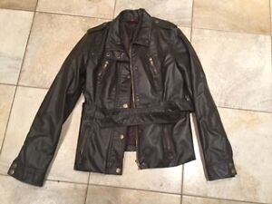 New Look Brown Faux Leather Woman's Jacket size large