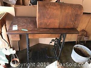 Wood Sewing Table With Sewing Machine A