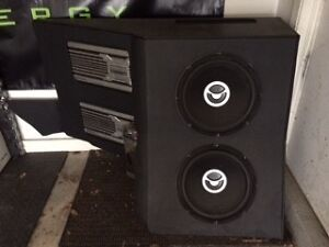 Car audio Custom Enclosure includes subwoofer and amps