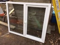WHITE PVCU LH SIDE HUNG WITH FIXED LITE WINDOW (H)970MM (W)1190MM