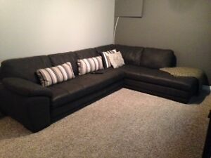 Palliser Leather sectional - Charcoal