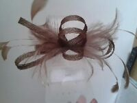 Fascinator. Light Brown. Lamour Clip. Worn once. £8