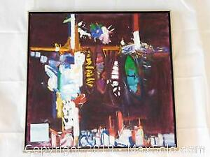 Vintage Abstract Painting on Canvas Singed M. Harris