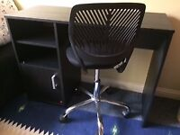 Black desk and chair - excellent condition