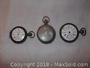 3 Sterling silver men's pocket watches
