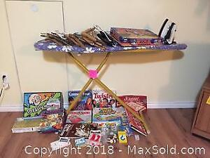 Iron, Ironing Board, classic Board Games n good condition, Clothes Hangers