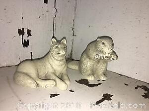 Beaver & Wolf Figures Made in Canada, Initialed