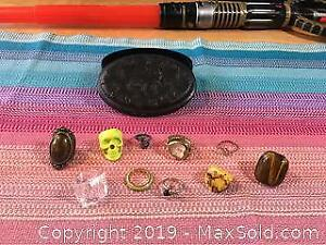 Costume Jewelry Rings And Box