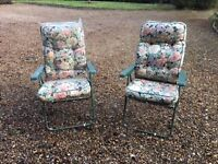 Two garden reclining loungers with cushions. Pre owned but both good condition