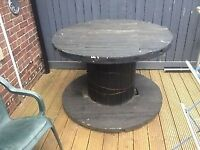 Large wooden cable reel/drum. Garden table