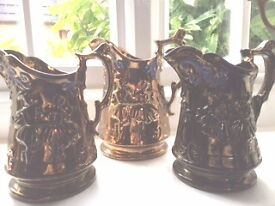 Set of 3 identical lustre ware jugs, perfect condition £12