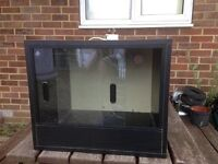 Vivarium, black with sliding glass doors at the front