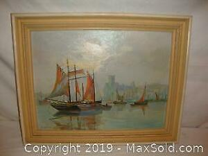 Antique oil painting on canvas by John Lawrence -British.