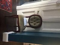 Wood table and 4 chairs with green velvet upholstery £200 ono