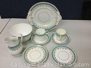 Lot Of Blue And Gilt Porcelain Dishware