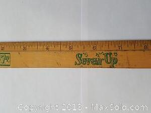 Old 7UP Promo Wood Advertising Ruler
