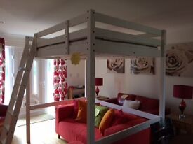 White wood LOFT BED and Mattress (Double size)