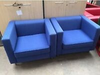 2 x Matching Office Reception Seating Tub Chairs ( Blue)
