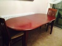 Very Nice Expandable Mahogany Dining Set with 6 Chairs