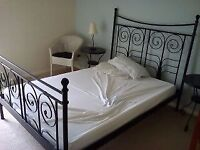 Ikea Noresund Cast Iron Effect Double Bed with Slats
